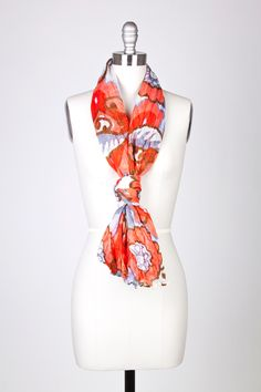 Pink Viscose Floral Scroll Long Scarf