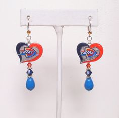 OKC Thunder Earrings, Colorful On the Court, Pearl and Crystal Leverback Pro Basketball Earrings by scbeachbling on Etsy