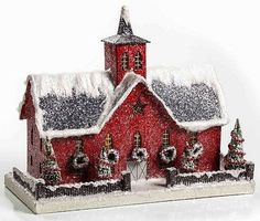Red Christmas Putz Lighted Barn Stable Primitive Tablepiece Colonial Paper Mache by Nancilee Jeffreys Iozzia Christmas Village Houses, Christmas Town, Putz Houses, Christmas Villages, Christmas Paper, Christmas Projects, Vintage Christmas, Christmas Kitchen, Xmas