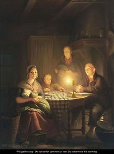 Saying Grace -  Petrus van Schendel (1806–1870) was a Dutch Romantic painter, etcher and draughtsman.