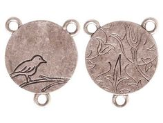 Bird On Branch small Silver Connector 25x20x1mm by by NatureBeads, $2.75