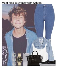 """""""Meet fans in Sydney with Ashton"""" by irish26-1 ❤ liked on Polyvore featuring Marc by Marc Jacobs, Topshop, Acne Studios, Monki, DKNY and Vans"""
