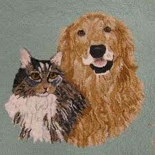 Happy Golden and cat - rug Hooking