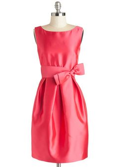 The Gift of Good Taste Dress - Pink, Solid, Bows, Wedding, Party, Bridesmaid, Sleeveless, Boat, Sheath / Shift, Better, Satin, Woven, Pockets, Formal