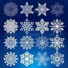 Elegance Vector Snowflakes #GraphicRiver Decorative Vector Snowflake Set – Winter Series Clip-Art - vector illustration, only simply linear and radial gradients used - vector objects grouped - no blends, gradient mesh used - vector available CMYK color for print - pack include version AI, CDR, EPS, JPG Keywords: rime, fake, symmetric, kit, snowflake, beautiful, decoration, background, silhouette, snow-flakes, decorative, set, retro, revival, xmas, snowy, winter, clip, art, cold, december…