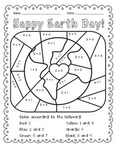 Earth Day: Add and Color Activity $1.50. Fun addition practice. Students solve basic facts 0-9, and then color. Use picture as classroom decoration or a greeting card. Works great as a math center or morning work.