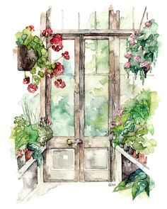 "Greenhouse Painting - Print from Original Watercolor Painting, ""Greenhouse"", Botanical Print, Red Geranium, Garden, Watercolor Flowers"
