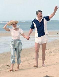 Nancy and Ronald Reagan enjoying some time on the beach. Nice shirt!