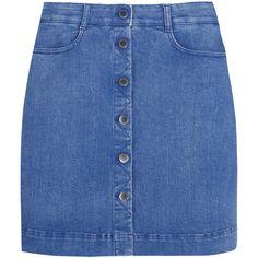 Stella McCartney Stretch-denim mini skirt ($565) ❤ liked on Polyvore featuring skirts, mini skirts, bottoms, faldas, denim, blue, blue skirt, short a line skirt, short skirts and a-line skirt