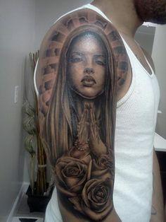 What does virgin mary tattoo mean? We have virgin mary tattoo ideas, designs, symbolism and we explain the meaning behind the tattoo. Maria Jose, Rose Tattoos For Men, Tattoos For Guys, Top Tattoos, Body Art Tattoos, Buddha Tattoos, Tattoo Art, Maria Tattoo, Chicano Tattoos Sleeve