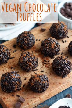 These decadent vegan chocolate truffles are so rich and creamy and coated in chocolaty sprinkles. The best dairy free homemade chocolates with coconut milk! Healthy Vegan Desserts, Vegan Dessert Recipes, Delicious Vegan Recipes, Vegan Sweets, Vegan Foods, Dairy Free Recipes, Healthy Food, Vegan Chocolate Truffles, Vegan Truffles
