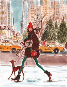 illustration by Izak Zenou New York Christmas, Christmas Mood, Christmas Fashion, Christmas Girls, Christmas Shopping, Merry Christmas, Art And Illustration, Christmas Illustration, Cartoon Kunst