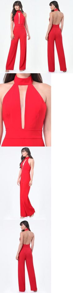 Jumpsuits And Rompers: Bebe Red Deep Plunge Halter Romper Jumpsuit New Nwt $139 Medium M Large L 10 -> BUY IT NOW ONLY: $66.39 on eBay!