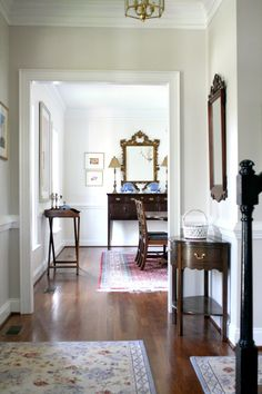 Benjamin Moore Light Pewter Paint Color for Hallway // Dining Room Paint Color Dune White