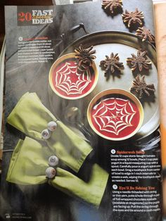 Creepy Crawlies spider sandwiches and spiderweb soup. Rachel Ray magazine.