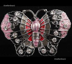 NEW - BLACK AND PINK MULTI COLOR BUTTERFLY CRYSTAL ENAMEL PIN BROOCH PENDANT