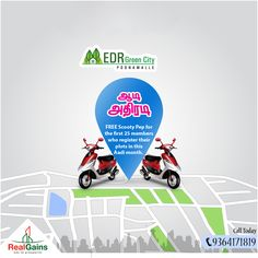 EDR Green City - DTCP approved plots near Poonamalle. Near Bangalore highway, from 6 Lakhs onwards. Aadi Offer - FREE Scooty Pep for the first 25 members who register their plots in this Aadi month. Bank Loan available.  Facilities: * 40ft and 30ft broad black top roads. * Sweet ground water * 24x7 security  Location: * 20 mins from Porur * 30 mins from CMBT * Near to Saveetha Medical and Engineering College  Call Today : 93641 71819