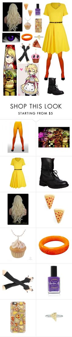 """""""FNAF: Daughter of Chica"""" by ender1027 ❤ liked on Polyvore featuring Freddy, Yumi, Steve Madden, Venessa Arizaga, Lauren B. Beauty, Casetify and Rock 'N Rose"""