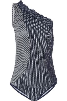 STELLA MCCARTNEY  Lace-trimmed printed swimsuit