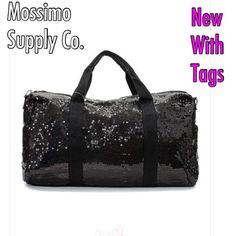 "Mossimo  Sequin Duffle Bag• NEW.              33 Black Sequin Duffle Bag• 19"" Lx 13"" Big• Has front pocket• Has long carrying trap & short handling straps• Zipper• Mossimo Supply Co Bags Shoulder Bags"