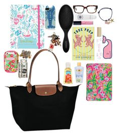 """""""what's in my longchamp"""" by thepreppylife ❤ liked on Polyvore featuring Longchamp, C. Wonder, Avon, Tory Burch, Lilly Pulitzer, Sephora Collection, Prada, L'Occitane, Butter London and Brooks Brothers"""