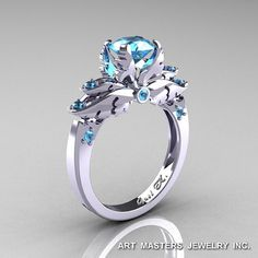 Classic 14K White Gold 1.0 Ct Blue Topaz by DesignMasters on Etsy