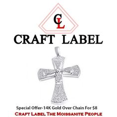 "1/40 Ct Round Brilliant Cut 14K Gold Cross Pendant Without Chain ""Mother\'s Day Gift"". Starting at $1"