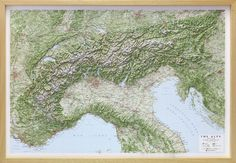 Raised Relief Map of The Alps