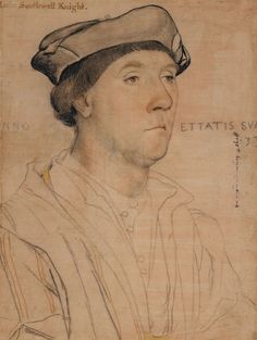 Hans Holbein the Younger (1497/8-1543) - Sir Richard Southwell (1502/3-1564)  Sir Richard Southwell (1502/3-1564). A bust length portrait facing three-quarters to the right, showing the sitter aged 33. This drawing is a preparatory study for painting in the Uffizi, Florence. Inscribed by the artist: Die augen ein wenig gelbatt (the eyes a little yellowish), and in chalk: [A]NNO ETTATIS SVA[E]/.33. Inscribed in an eighteenth-century hand at upper left: Rich: Southwell Knight.