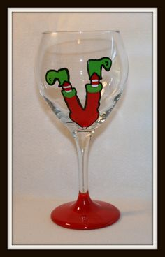 Celebrate Christmas with a little humor!  Hand Painted wine glasses make a great gift for holiday parties!