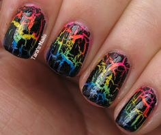 Neon Rainbow Nails with Black Crackle... reminds me of the paper where you scratch off the black layering to reveal colors underneath!