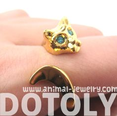Kitty Cat Animal Wrap Ring in Shiny Gold with Rhinestone Eyes | US Sizes 6 to 9 - $10 #kittens #cats #rings #jewelry #cute #kitty