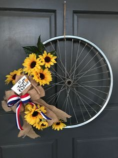 Bike wheel wreath in the spirit of Le Tour de France