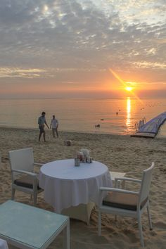 Another beautiful sunset Surin Beach Phuket, Thailand. Who wants to sit at this table?