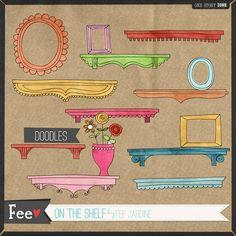 Quality DigiScrap Freebies: On The Shelf doodles freebie from Fee Jardine
