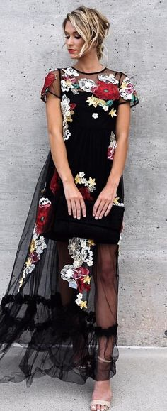 #summer #outfits Black Floral Maxi Dress