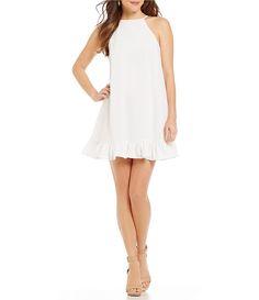 Ivory:Gianni Bini Jenna Ruffle Hem Button Back Shift Dress