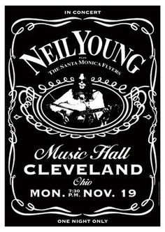 Neil Young concert posters | NEIL YOUNG 9 November 1973 Cleveland - retro artistic concert poster ...