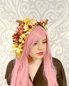 Dark Pink and Ivory Faun Headdress, Horned Flower Costume Headdress, Flower Crown, Maenad, Lolita, Mori, Fawn, Deer Antler, Cosplay, Satyr by RuthNoreDesigns on Etsy