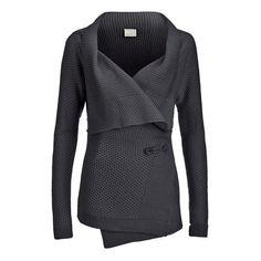 Vero Moda Women's Ripa Long Sleeve Cardigan - Dark Grey Melange ($54) ❤ liked on Polyvore featuring tops, cardigans, jackets, outerwear, sweaters, grey, oversized grey cardigan, long drape cardigan, drape cardigan and dark gray cardigan