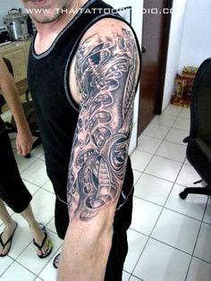Free Hand Biomechanical Tattoo