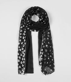 black and white scarf, printed with studs.