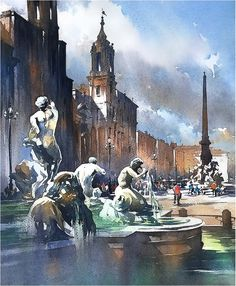 Piazza Navona. Thomas W Schaller. Watercolor. 24x18 Inches - 04 Sept. 2017.
