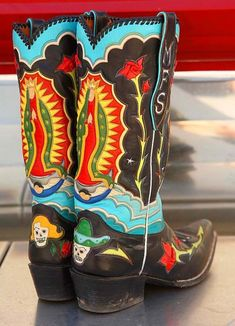 Our Lady of Guadalupe Cowboy Boots Cowgirl Chic, Cowboy And Cowgirl, Cowgirl Style, Cowgirl Boots, Western Boots, Cowgirl Baby, Custom Cowboy Boots, Custom Boots, Boot Scootin Boogie