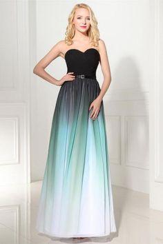 2016 Handmade Long Elegant Sweetheart Ombre Chiffon Prom Dresses