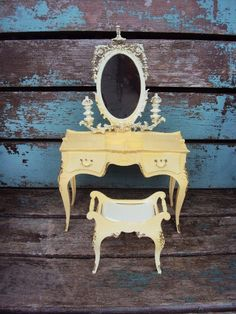 Vintage Barbie Susy Goose Furniture French Provincial Dresser Mirror and Stool