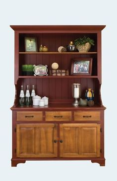 Amish Farmhouse Kitchen Hutch Dining Room Country Step Back Solid Wood New | eBay