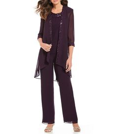 a2a2797f8a Le Bos 3-Piece Embroidered Sequin Trim Pant Set