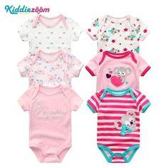 9fa58d773b 6PCS Kiddiezoom Brand Baby Bodysuits Cotton Baby Girls Boy Clothing Short  Sleevesdresskily