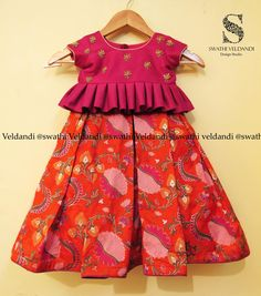 Beautiful kids peplum top and lehenga in red color flower design all over. Kids Party Wear Dresses, Kids Dress Wear, Kids Gown, Dresses Kids Girl, Kids Outfits, Baby Dresses, Kids Indian Wear, Kids Ethnic Wear, Baby Girl Frocks